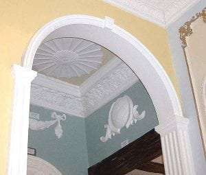 Moulded Archway with Ceiling Centrepiece and Decorative Wall Moulds by Ossett Mouldings