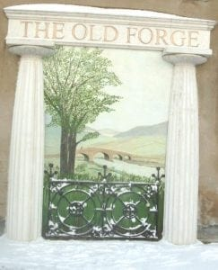 The Finished Yorkshire Mural with 3D Surround including Columns, Engraved Writing and Replicated Cast Iron Fencing by Ossett Mouldings